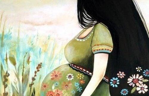 siyah saçlı çiçekli elbiseli hamile kadın karikatürü