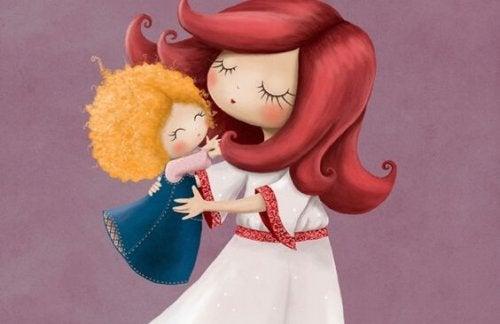 kızıl saçlı anne ve sarışın bebek çizgi karakteri
