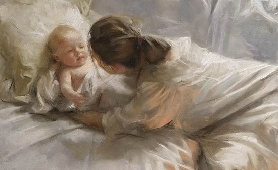 çocuğunu uyandıran anne