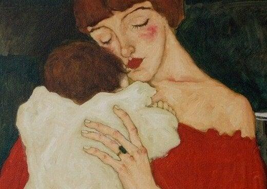 kırmızı rujlu kadın ve bebeği