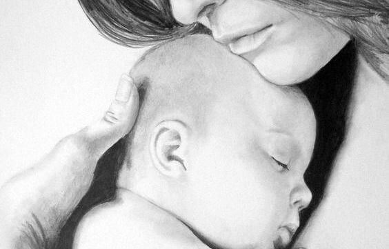 annesiyle bebek siyah beyaz