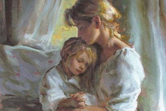 sarışın anne ve kucağında kızı