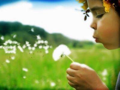 çiçeğe üfleyen çocuk