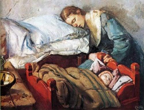 uyuyakalmış anne