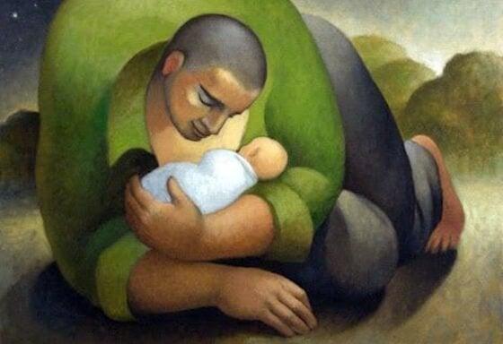oğlunu sarıp sarmalayan baba