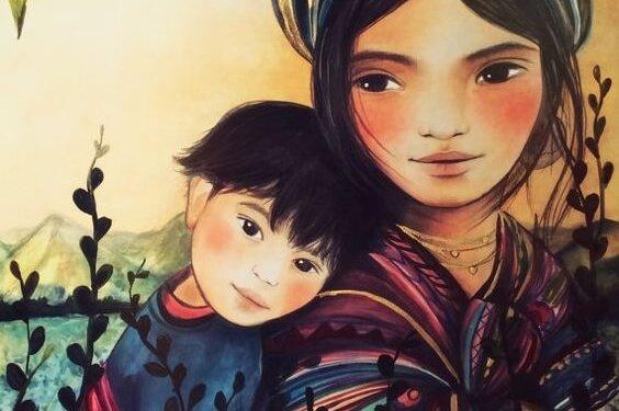 çocuğun başı annesinin omzunda