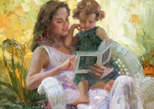 kızına kitap okuyan anne