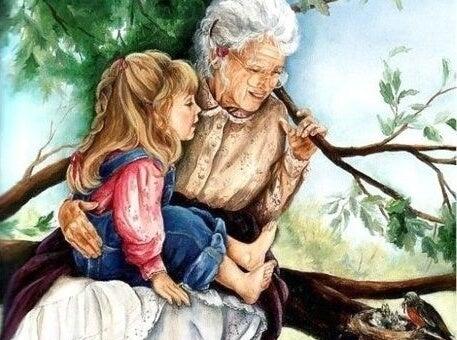 babaanne ve torun ağaçta