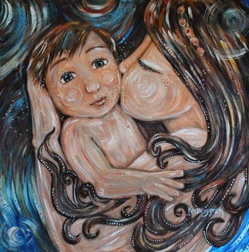 bebeğini öpen anne tablosu