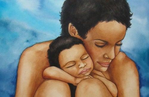 birbirine sarılan anne çocuk