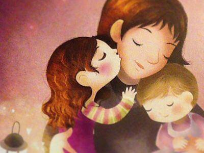 annesine sarılan öpen çocuklar