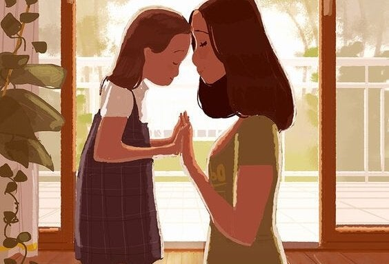 anne ve kızı el ele