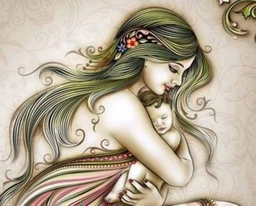 bebeğine sarılmış anne