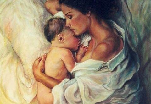 uyuyan anne ve bebek tablosu