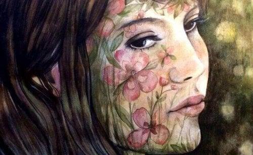 yüzünde çiçek resmi anne