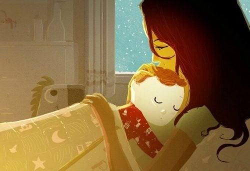 bebeği ile uyuyan anne