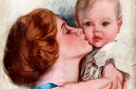 oğlunu yanağından öpen anne