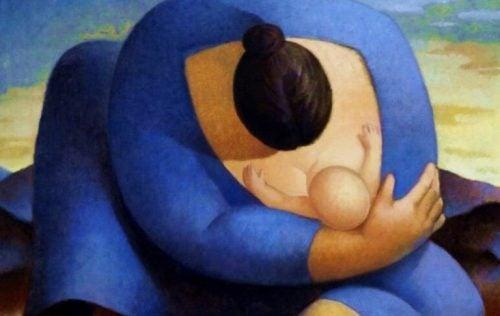 bebeğine sarılan anne figürü