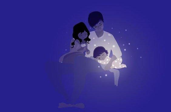 çocuklarını uyutan anne baba