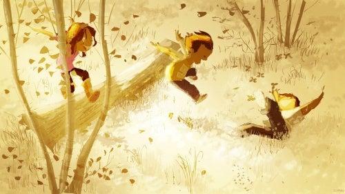 ormanda oynayan çocuklar
