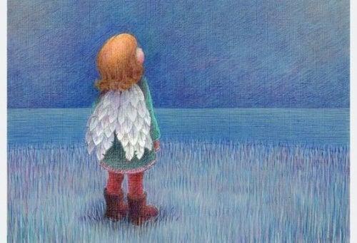 gökyüzüne bakan kız çocuk