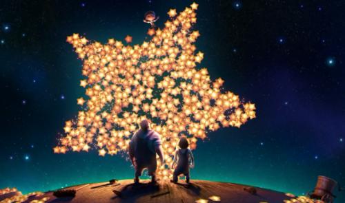 Yıldızlara bakan baba çocuk
