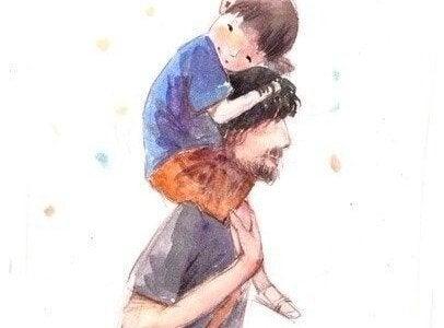 babasının sırtında oğlu