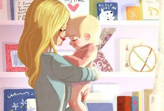 bebeği kucağında sarışın anne