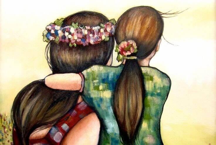 çiçekli anne ve kız