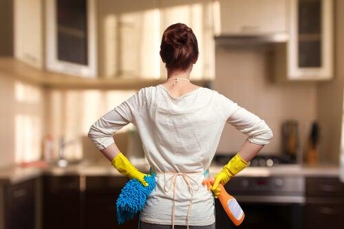 temizlik yapan anne
