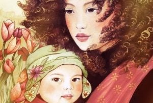 kıvırcık saçlı anne