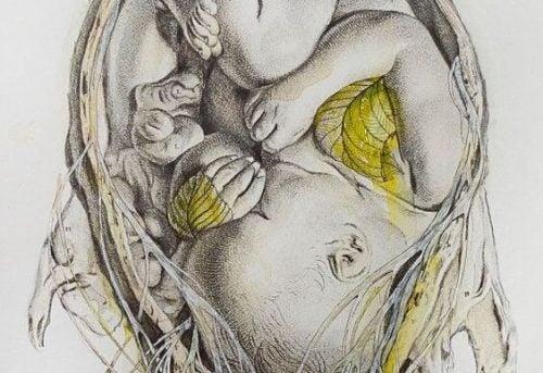 anne karnında gri sarı bebek