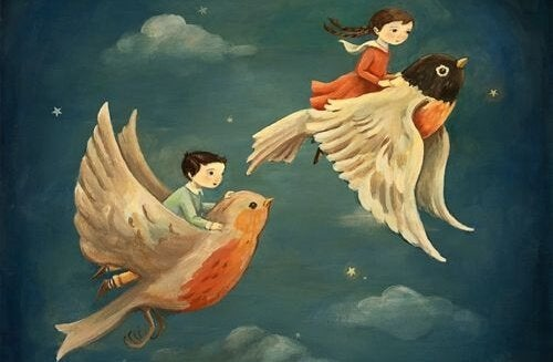 kuşlarla uçan çocuklar