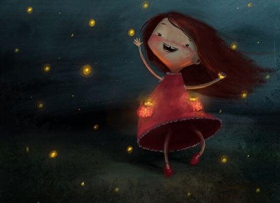 yıldızlarla parlayan çocuk