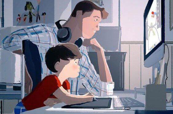 beraber çizim yapan baba oğul