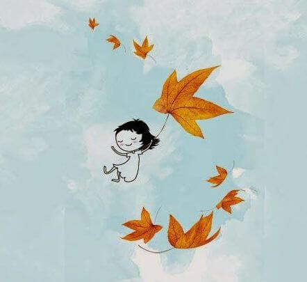 yapraklarla uçan kız