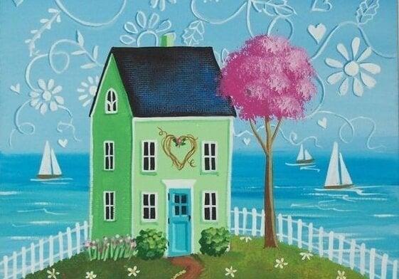 deniz kenarında ev çizimi