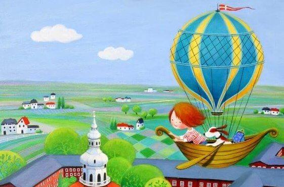 balonla uçan çocuk
