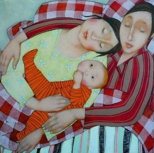 birbirine sarılan aile