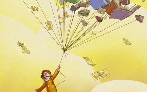 iplere bağlı kitaplar ve çocuk