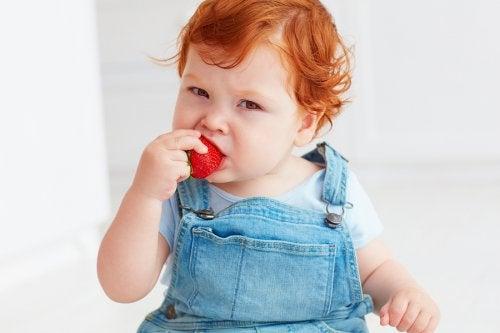 çilek yiyen çocuk