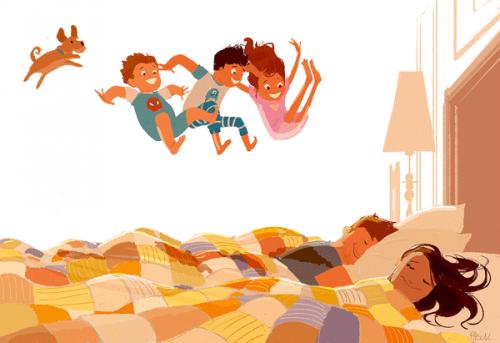 aile ve yatak resmi