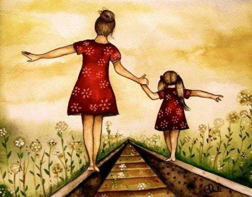 anne kız çizim