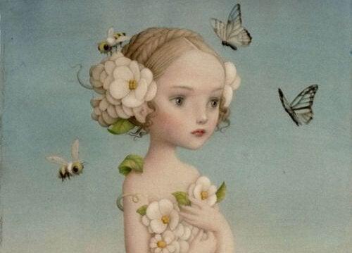 kız çocuğu ve kelebekler