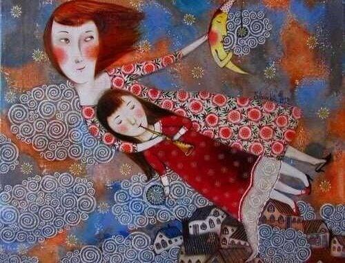 Anne ve flüt çalan kızı