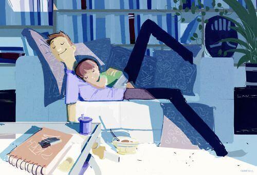 uyuyan baba ve çocuk