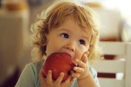 elma yiyen çocuk