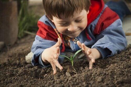 fidan eken çocuk ve çocuklara sağlıklı yaşam eğitimi vermek