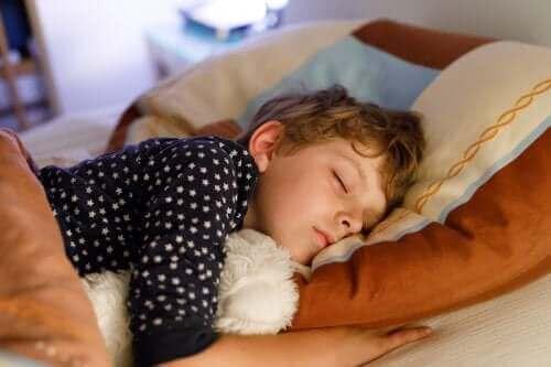oyuncağıyla uyuyan çocuk