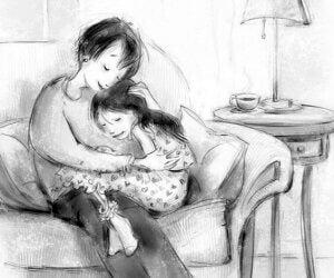 Kızına sarılan bir anne